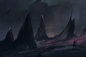 rock digital art landscape fantasy art dark artwork