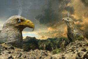 rock eagle smoke eyes mountains stairs fantasy art path landscape nature digital art clouds road animals