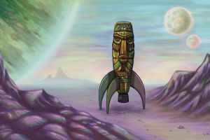 rocket space tiki artwork totem fantasy art vintage