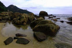 rocks beach landscape coast sea