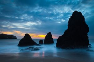 rocks long exposure beach landscape sea