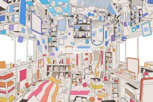 room upside down anime girls bed