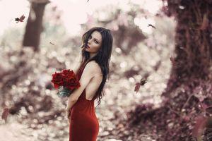 rose women outdoors flowers red lipstick leaves red dress women model brunette blue eyes alessandro di cicco no bra fall