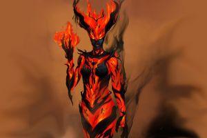 rpg the elder scrolls v: skyrim fantasy art pc gaming fire video games demon fantasy girl