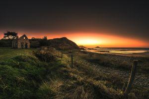ruin coast sea landscape