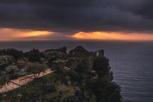 ruin landscape coast sea
