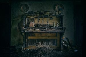 ruin musical instrument old piano