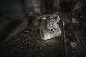 ruin telephone old dirt