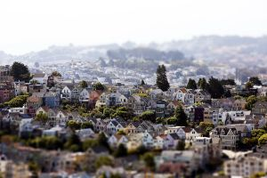 san francisco cityscape house tilt shift