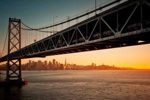 san francisco-oakland bay bridge bridge cityscape suspension bridge san francisco sunset