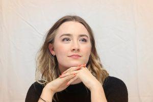 saoirse ronan actress women blonde red nails looking away long hair blue eyes
