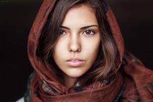 scarf brunette women face hazel eyes