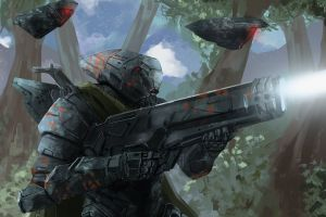 science fiction artwork futuristic futuristic armor shooting