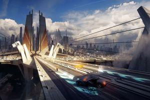 science fiction bastien grivet fantasy art car concept art road futuristic futuristic city city artwork digital art
