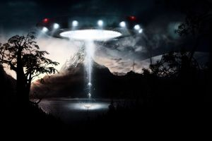 science fiction dark digital art ufo