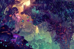 science fiction fantasy art landscape digital art glowing city