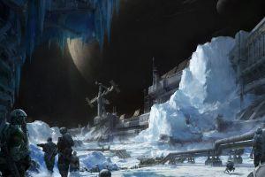 science fiction futuristic planet ice artwork
