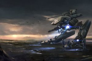 science fiction landscape mech digital art sky