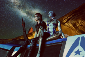 science fiction mass effect video game heroes night sky video games video game art