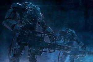 science fiction mech artwork