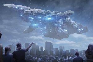 science fiction vehicle digital art artwork futuristic spaceship people cityscape