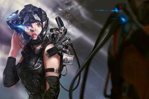 science fiction women digital art technology futuristic
