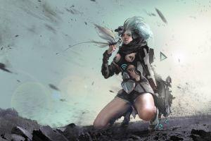 science fiction women kneeling futuristic artwork