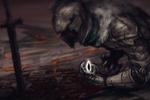 screaming helmet dark ground video games knight sword metal digital art dark souls dark souls ii