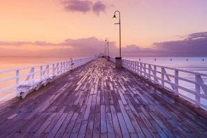 sea australia dock sunrise brisbane horizon pier