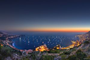 sea city lights monaco cityscape sunset bay
