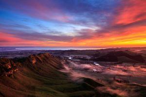 sea coast landscape clouds new zealand sunset