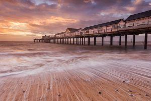 sea foam dusk beach pier sea landscape