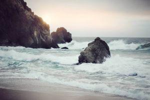 sea foam landscape beach coast sea waves