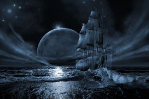 sea ghost ship sky digital art fantasy art night sailing ship