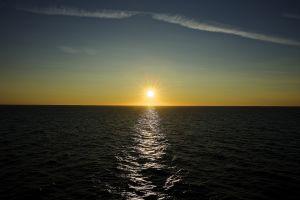 sea horizon water sunset sky sun