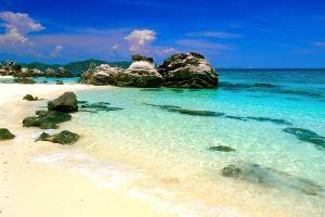 sea landscape rocks tropical beach