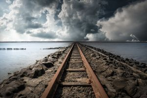 sea railway clouds