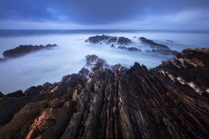 sea rocks horizon coast landscape