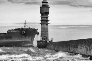 sea ship waves lighthouse monochrome