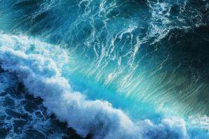 sea top view sea foam waves