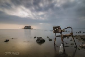 sea water sky old chair bottles david aguilera nature