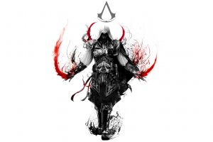 selective coloring assassin's creed: brotherhood video games video game art simple background