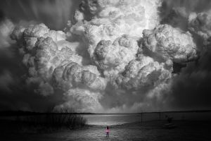 selective coloring women outdoors clouds