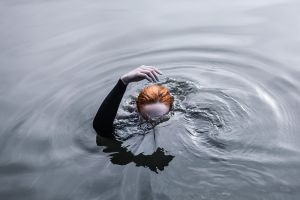 shadow hands women ripples women outdoors redhead underwater water