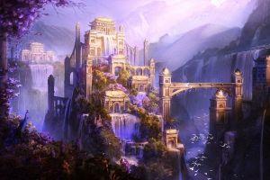 shangri-la city artwork fantasy art mountains waterfall castle