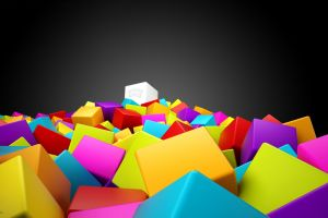 shapes gradient cube colorful abstract