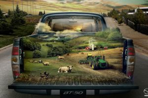 sheep farm surreal tractors road car cow painting