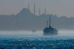 ship river mosque silhouette mist istanbul