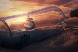 ship sailing ship ship in a bottle fantasy art digital art bottles ship