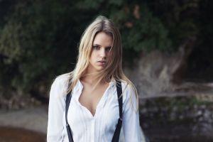 shirt women portrait blonde